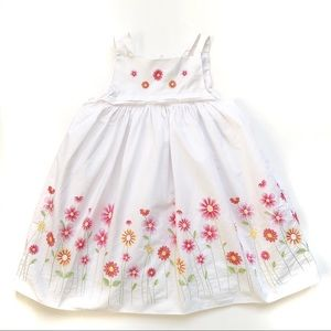 Rare Editions Floral Embroidery Toddler Dress